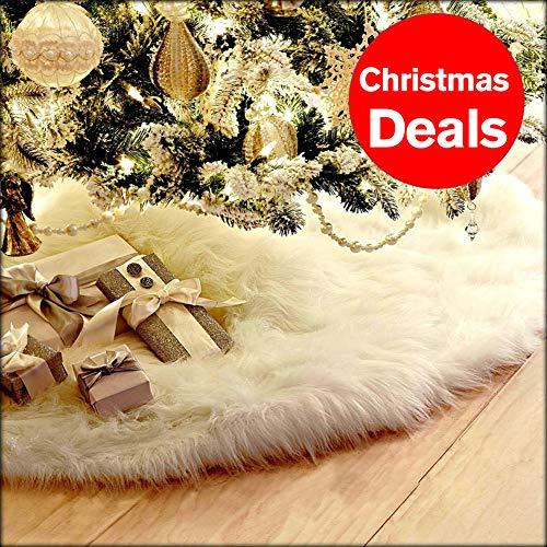 OVOV 32' White Christmas Tree Skirt Plush Flaux Fur for Christmas Party Decoration