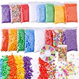Slime Foam Beads Floam Balls – 18 Pack Microfoam Beads Kit 0.1-0.14 and 0.28-0.35 inch (70,000 Pcs) Colors Rainbow Fruit Beads Craft Add ins Homemade DIY Kids Ingredients Flome Styrofoam Supplies Big