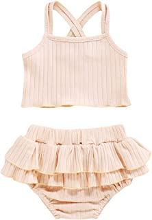 Newborn Baby Boys Girls Summer Outfits Infant Ribbed Knitted Strap Shirt + Layer Shorts Two Piece Clothes Set