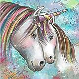 DIY 5d Diamond Painting Kits for Adults, Full Drill Unicorn Embroidery, DIY 5d Round Diamond Rhinestone Stickers Wall Decor Art (Colorful Unicorn)