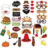 ☺FUN FOR THANKSGIVING DAY:Creative Thanksgiving themed photo booth cutouts, a special addition for your party time. Get the elements included turkey style hair bands, turkey & maple glasses, chicken legs, hat, lips, beard, turkey mouth, napkin cloth,...