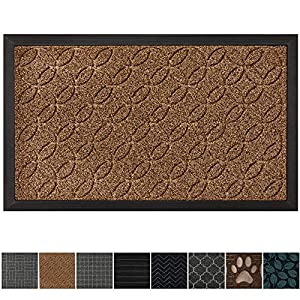 GRIP MASTER Durable All-Natural Tough Rubber Doormats, 29x17 Size, Waterproof Boots Scraper Mats, Heavy Duty Indoor Outdoor Door Mat for Winter Snow, Low-Profile Easy Clean, Beige Basket Weave