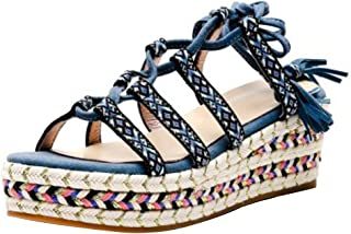 KemeKiss Women Classic Woven Wedge Heels Summer Shoes Open Toe
