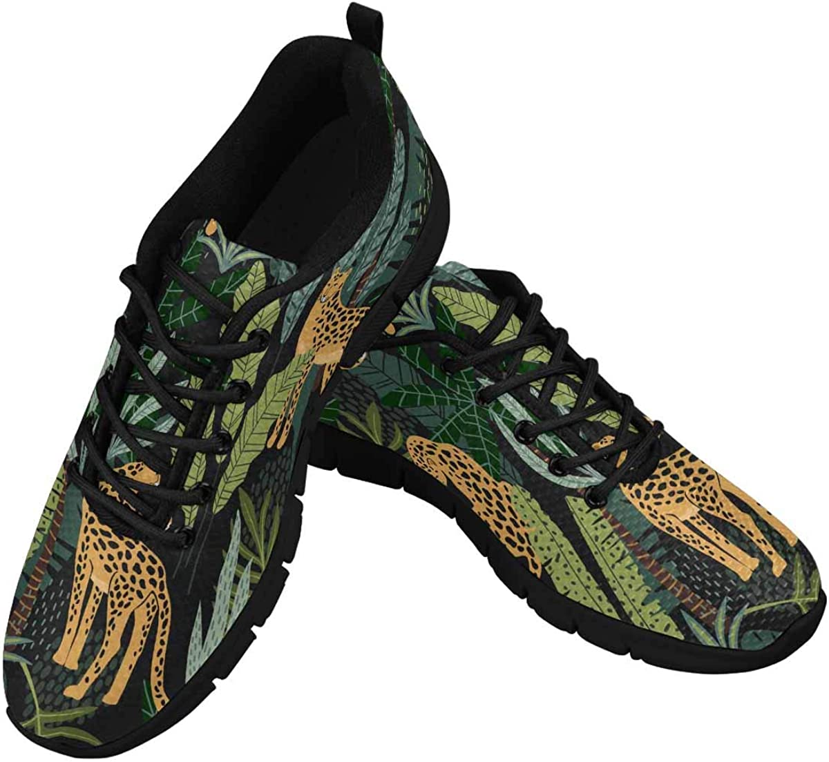 INTERESTPRINT Leopards and Tropical Leaves Women's Breathable Sneaker