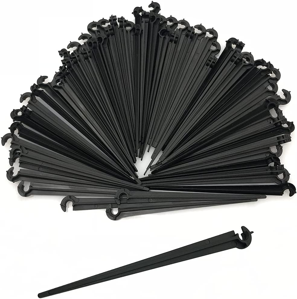 CHAOYUN 80 Pcs Irrigation Support Stakes for 1/4-Inch Tubing Hose for Gardens, Flowers, Plants, Vegetable, Herbs Gardens