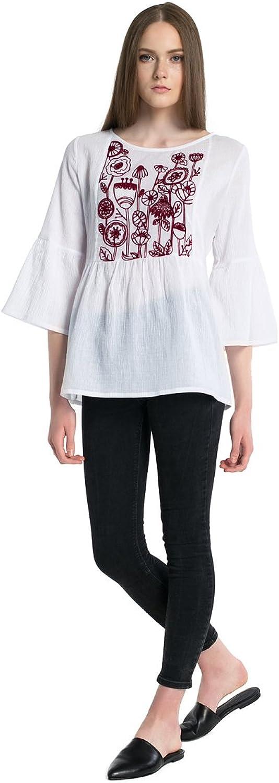ETNODIM Embroidered Cotton Shirt Casual Blouse Tops White Vyshyvanka 3 4 Sleeve