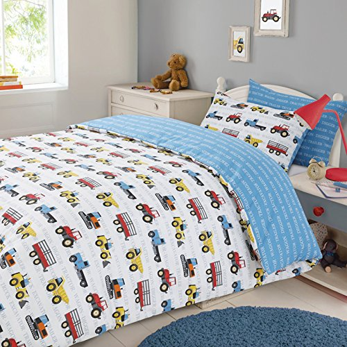 Dreamscene Transport Duvet Cover with Pillow Case Boys Kids Workforce Car Truck Bedding Set - Blue, Double