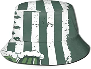 Fisherman Hat Clover American Flag Beer Sun Hat Women Men Eye Protect Breathable Bonnie Cap 3D Printed Beach Hat Durable&Reversible for Summer Outdoor