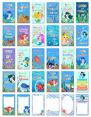 30 Mermaid School Lunch Box Notes For Kids, Inspirational Motivational Cards Boys Girls From Mom, Encouraging Student Children Teens, Thinking of You Positive Affirmation Encouragement Lol Fun Love