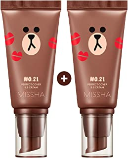 Missha M Perfect Cover BB Cream #21[2PK] SPF 42 PA+++(50ml) (LINE FRIENDS Edition)-Lightweight, Multi-Function, High Coverage Makeup To Help Infuse Moisture For Firmer Looking Skin