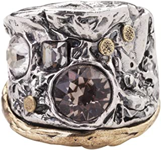Waxing Poetic Melange Convergence Band Sterling Silver, Brass and Swarovski Crystals Statement Ring
