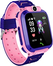 Tonnier Smart Watch Q12 Kids Smart Watch Touch Screen Phone Smartwatch with SIM Slot GPS Tracker SOS,Multi-function Intelligent Positioning Remote Camera Waterproof Students Watches with Silicone Band