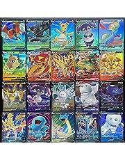 AUMIDY Pokémon kaarten, GX Vmax, 100 stuks verschillende Pokémonkaarten van zwaard en bordedities, 60 V + 40 Vmax kaarten voor Pokémon