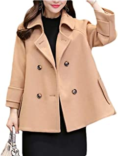 Womens Casual Double Breasted Lapel Pea Coat Wool Blend Overcoat