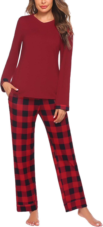Ekouaer Womens Pajamas Set Long Sleeve Tops and Printed Pants Long PJ Sets Nightwear Loungewear S-XXL