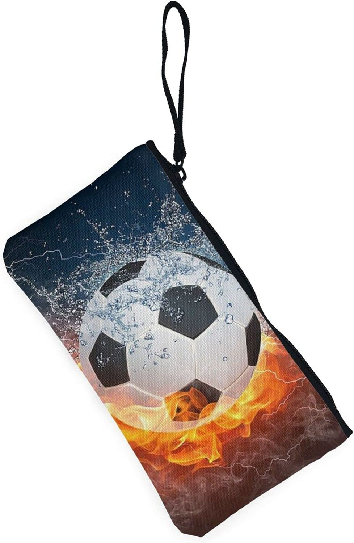 AORRUAM Football Soccer fire Canvas Coin Purse,Canvas Zipper Pencil Cases,Canvas Change Purse Pouch Mini Wallet Coin Bag