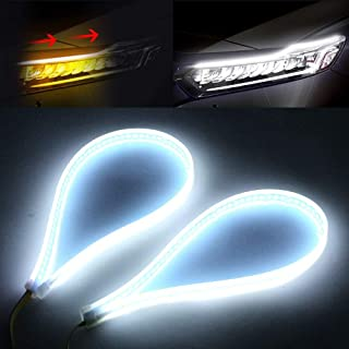 OPP ULITE 2Pcs LED Daytime Running Light Strip 24 Inches 150 PCS Led Chip White Amber Dual Color Waterproof Car Flexible D...