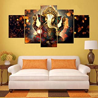 TYUIOP Canvas Painting Wall Artist's Home Decoration Frame 5 Pieces Ganesh Elephant Trunk God for Living Room Modern HD Pr...