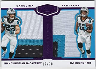 Christian McCaffrey DJ Moore 2018 Panini Plates & Patches Double Coverage Dual 3 Color Jersey Patch Card Purple Parallel Serial #17/20 Carolina Panthers