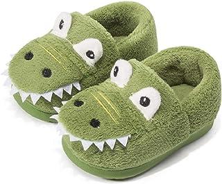 Voqeen Chaussons Enfants Hiver Chaud Chaussons Fille Garcon Peluche Pantoufle Animaux Dinosaure Slippers Doux Antidérapant...