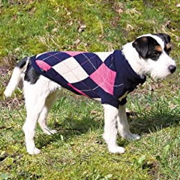 navy blue and pink argyle dog jumper
