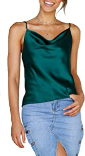 Women Cowl Neck Silky Cami Tank Top Soft Summer Strappy Camisole Crop Top