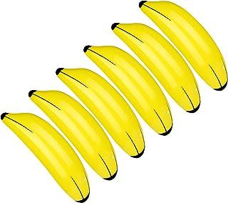 TUPARKA 6 PCS Juguetes Amarillos de la Piscina de los plátanos inflables depara la decoración del Partido de Luau Hawaii