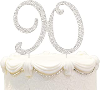 Bling Crystal 90 Birthday Cake Topper - Best Keepsake | 90th Party Decorations Silver
