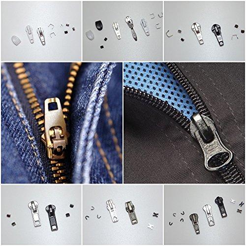 DIE NÄHZWERGE Reißverschluss-Reparatur-Sets mit Anleitung - passend für alle Zipper. Reißverschlüsse ohne nähen reparieren. Set enthält: Schieber Stoppteil Verbinder (Set 5: 4,5mm Metall-RV)