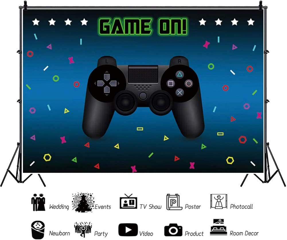 Haoyiyi 10x6.5ft Video Game On Backdrop Game Handle Retro Gamer Neon Green Gaming Next Level Up Background Photography Photo Boy Kids Happy Birthday 1st First Baby Shower Cake Smash Table Decoration