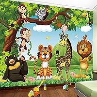 壁紙3D漫画の動物の世界の子供たちの子供の寝室の背景の壁画環境に優しい壁紙-500cm(W)x300cm(H)