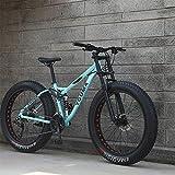 RNNTK Bicicleta De Montaña,Adulto Chico Chica Fat Bike Vehículos Todoterreno De Montaña,Freno De Disco Doble Bicicletas,Acero De Alto Carbono Marco,Antideslizante Bici Verde -24 Velocidad -26 Pulgadas
