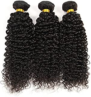 Indian Jerry Curl Weave Human Hair Unprocessed Virgin Indian Remy Curly Hair Bundles Extensions Naturl Black Can Be Dyed and Bleached 100g/bundle (8