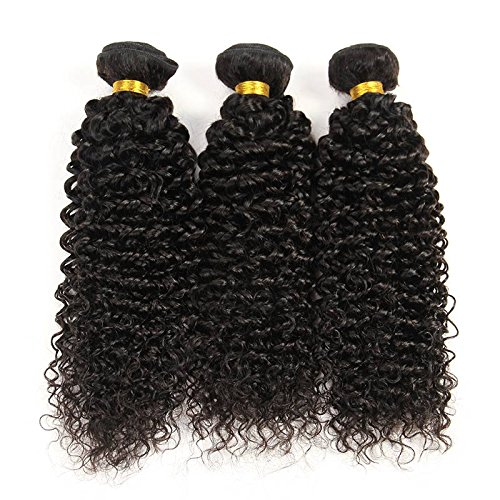 """Indian Jerry Curl Weave Human Hair Unprocessed Virgin Indian Remy Curly Hair Bundles Extensions Natural Black Can Be Dyed and Bleached 100g/bundle (28"""" One Piece)"""