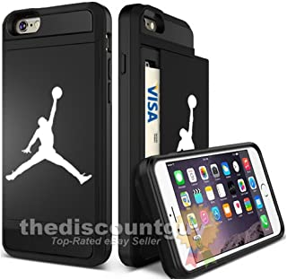 Apple iPhone 8 Plus - Dual-Layered Credit Card ID Storage Basketball Case Michael Jordan Store Money Cash Slide Wallet Jumpman Air Protective Cover (Black)