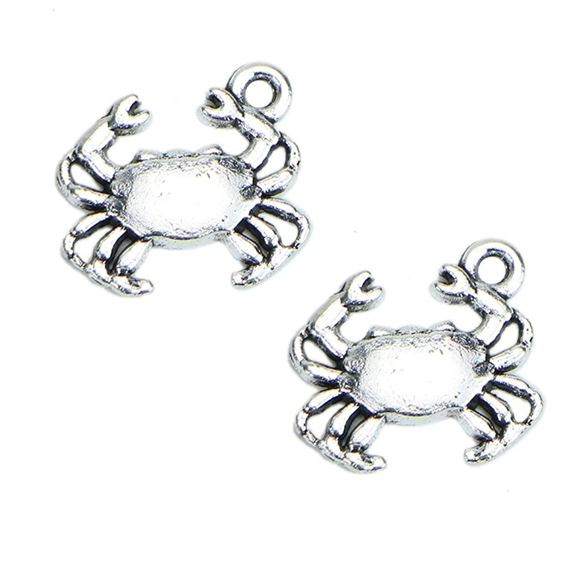 Monrocco 100 Pack Antique Silver Double Sided Crab Charms Pendants Bulk Jewelry Findings Supplies for Bracelets Jewelry Making