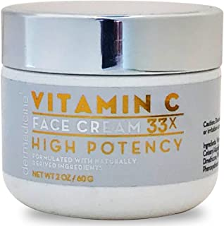 Natural Vitamin C High Potency Face Cream 33x High Potency w/Squalane & Antioxidants | Professional Grade Quality Helps Smooth Appearance of Fine Lines & Wrinkles & Brightness 2 oz 60g