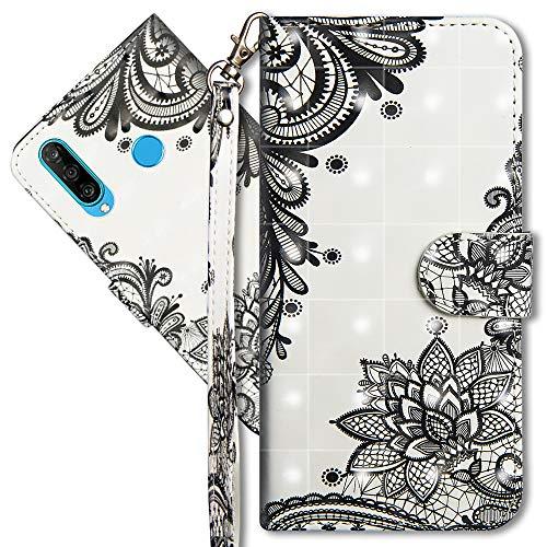 MRSTER Huawei P30 Lite Handytasche, Leder Schutzhülle Brieftasche Hülle Flip Case 3D Muster Cover mit Kartenfach Magnet Tasche Handyhüllen für Huawei P30 Lite. YX 3D - Lace Flower