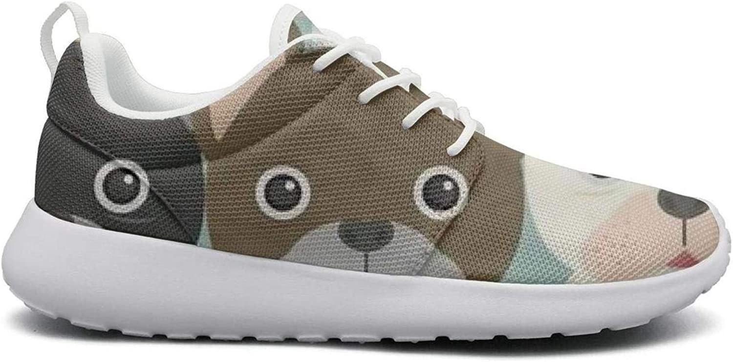 FEWW11 Women Funny Lightweight shoes Sneakers Cute Puppy Bulldog Canvas Upper Running Lace-Up