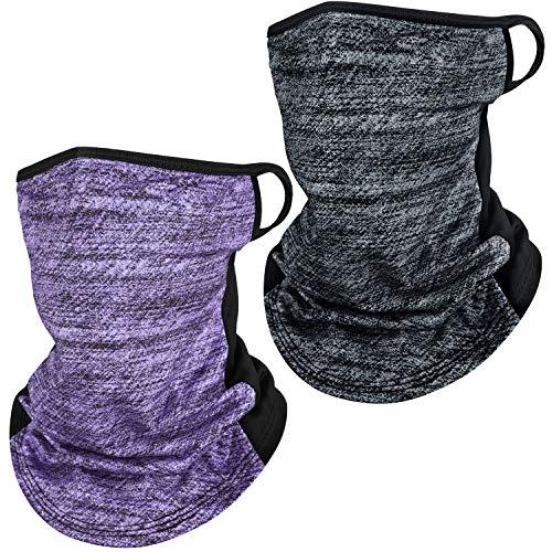 Gesichtsmaske mit Ohrschlaufen, Halswärmer, atmungsaktiv, aus Seide, Schal, Bandana, UV-Sonnenschutz im Freien, 2 Stück