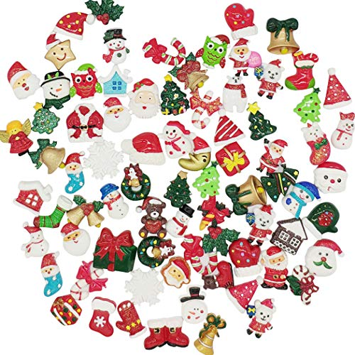 Hixixi 50-Pack Mix Lots Christmas Resin Art Accessory Flatback Flat Back X'Mas Christmas Santa Tree Claus Beer Snowman Snowflake Jingle Bell Sock Craft Embellishment