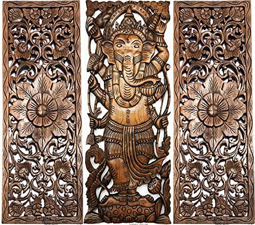 Ganesha Buddha and Floral Carved Wood Wall Decor Panels. Brown Finish, Set of 3 Pcs (Figure B)
