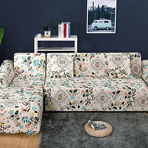 WXQY Elastischer Sofabezug, bedruckter Sofabezug ist geeignet für L-förmige Eck-Stretch-Sofabezug, All-Inclusive-Sofabezug A1 4-Sitzer