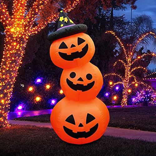 Gonfiabile 1,8 m Halloween 3 zucche Jack O'Lantern con cappello magico Luci Blow Up Decor Negozio di feste per interni Giardino esterno Prato Decorazione del giardino