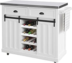 SoBuy FKW94-W designerski wózek kuchenny z półką na butelki, szafka kuchenna z 2 drzwiami przesuwnymi i 2 szufladami, wysp...