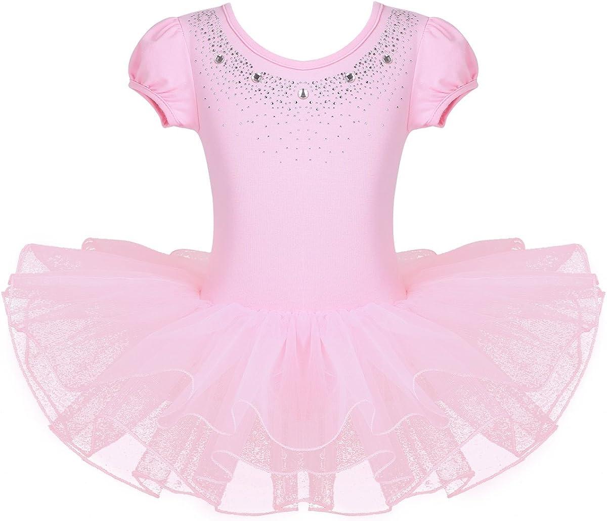 JEATHA Kids Cheap bargain depot Girls Shiny Rhinestones Ballet Bubble Dance Sleeves