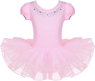 TiaoBug Girls' Camisole Ballet Leotard Dress Ruffled Sleeve Tutu Skirted Ballerina Dance Costumes
