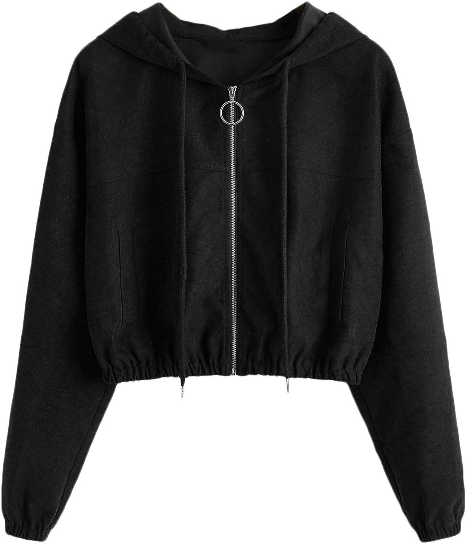 Mulimia Women's Casual Zip Up Drawstring Long Sleeve Workout Crop Hooded Jacket Outwear Black Medium