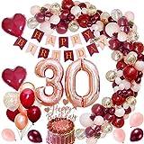MMTX 30 Decorazioni per Feste di Buon Compleanno Decorazioni Bordeaux con 30 Foil Palloncini Coriandoli Oro Rosa Vino Rosso Topper per Torta Banner per l'anniversario di Compleanno Donna Ragazza