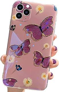 Capa Abbery compatível com iPhone SE 2020, compatível com iPhone 7/8, flor de borboleta roxa, luz Blu-Ray com design diama...